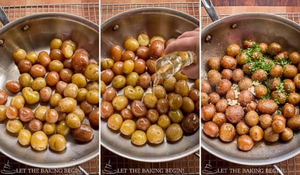 Pan Seared Parmesan Little Potatoes recipe pan seared with olive oil, white wine, and seasoning.