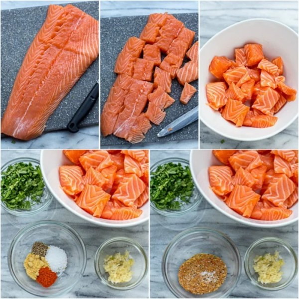 Preparing the salmon and seasoning for this Cheesy Parmesan Crusted Salmon Bake recipe.