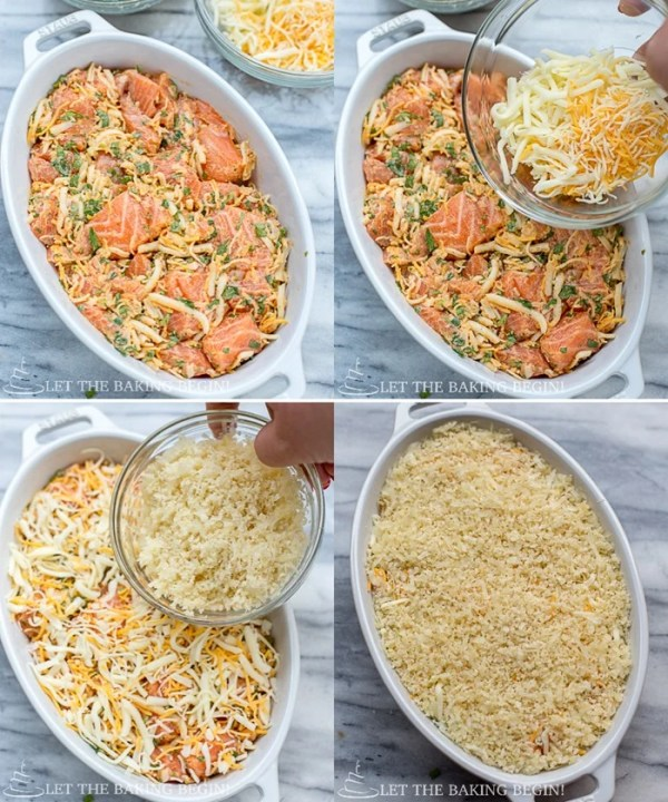 Step by step on how to top the casserole dish with the Parmesan crust.