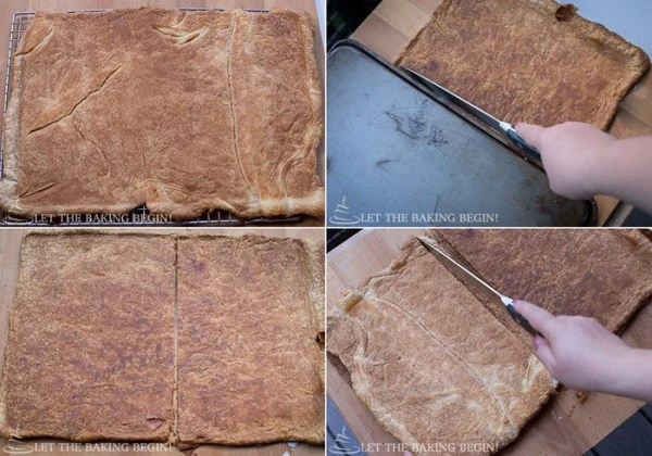 How to cut puff pastry sheet into four halves.