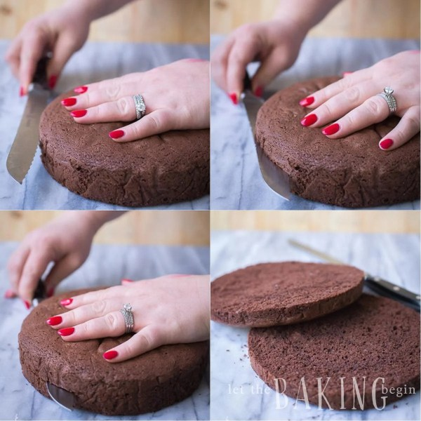 How to cut the chocolate sponge cake into perfect layers.