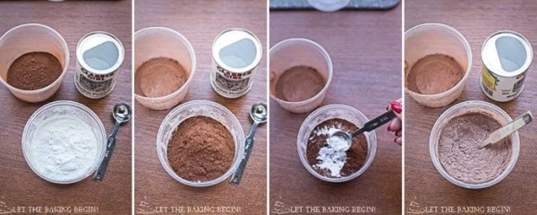 Mixing all the dry ingredients for this homemade chocolate cake recipe.