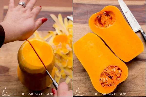 How to cut the squash in half with a knife.