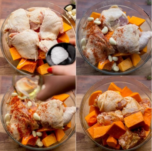 Step by step instruction on how to make this one pan chicken and squash dinner.