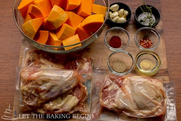 Ingredients for this One Pan Chicken and Butternut Squash recipe.