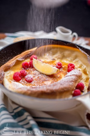 Shake and Bake Dutch Baby Pancakes - Put Eggs, Sugar, Milk and Flour in a jar and shake, then bake in the oven for 15 minutes. Can breakfast get any easier? | by LetTheBakingBeginBlog.com | @Letthebakingbg