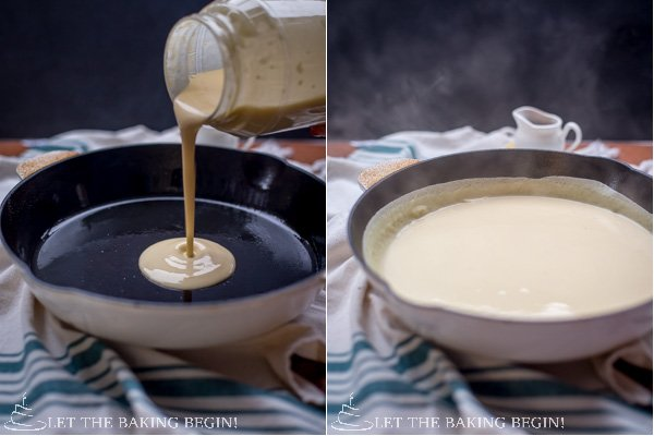 How to add mixture into a hot skillet and swirl around skillet until evenly spread.