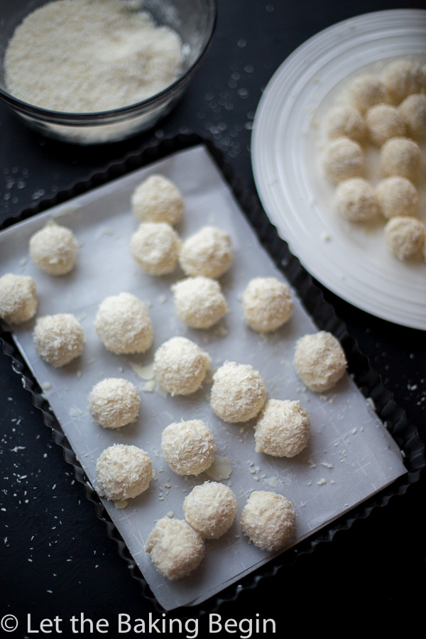 White Chocolate Coconut Candy (Raffaello Copycat) - 4 ingredient cousin of the famous candy these are easy and quick to make, oh and very delicious!   @Letthebakingbgn