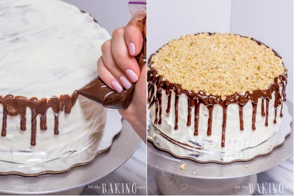 How to decorate the cake with chocolate drizzle and topped with chopped walnuts.