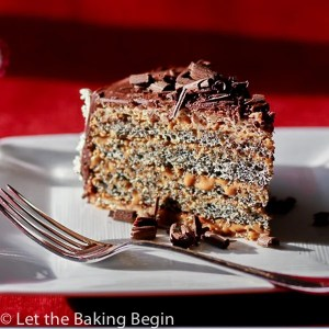 This Poppy Seed cake with Dulce de Leche Buttercream combines all the things I love in a cake, poppy seeds, walnuts, dulce de leche and chocolate   by Let the Baking Begin!