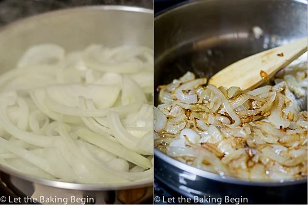 How to caramelize onions for this easy garlic barbecue pot roast recipe.