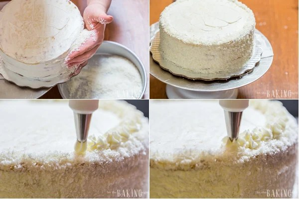 How decorate the sides and top of the cake with coconut, and how to pipe the frosting.
