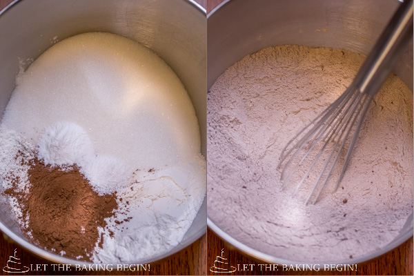 How to make red velvet cake dry ingredients my mixing in a bowl with a whisk.
