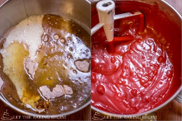 How to add red velvet cake wet ingredients to dry ingredients and mix in a whisking bowl.