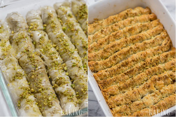 How to top with a few pistachios and bake until rolls are golden.