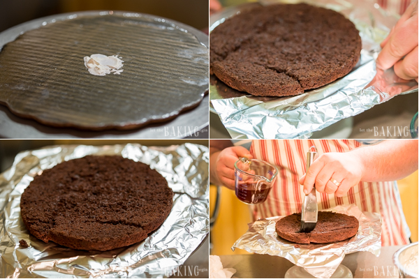 The chocolate layers are soaked in cherry juice syrup that adds additional level of flavor.