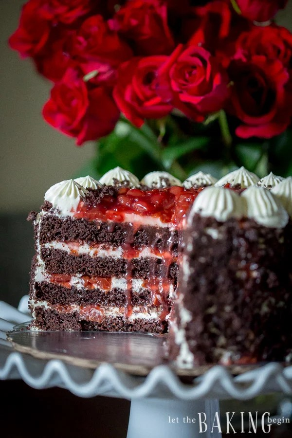 This Black Forest Cake is a classic combination of moist chocolate buttermilk cake layers, sweetened whipping cream and sour cherry filling.
