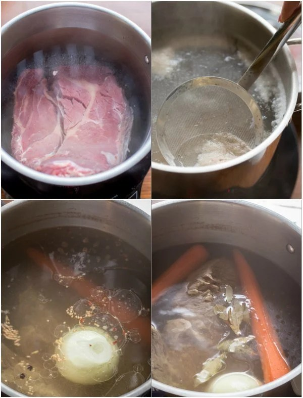 o How to boil the beef chuck, carrots, and onions in a pot.
