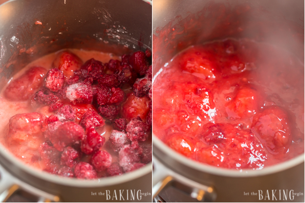 Boiling strawberry and raspberry sauce in saucepan.