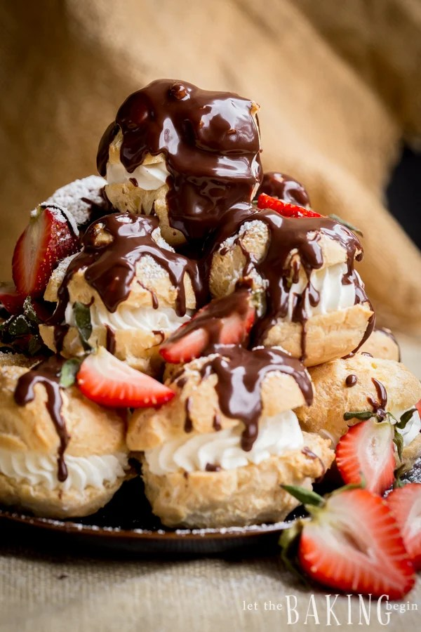 Cream Puffs - Pate choux pastries filled with sweetened whipped cream | Let the Baking Begin