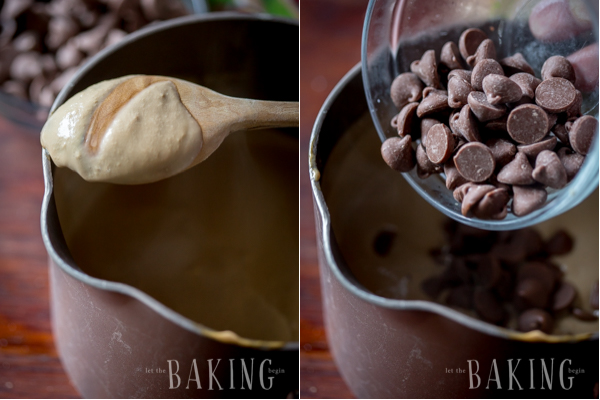 Making the pot de crème with chocolate chip morsels