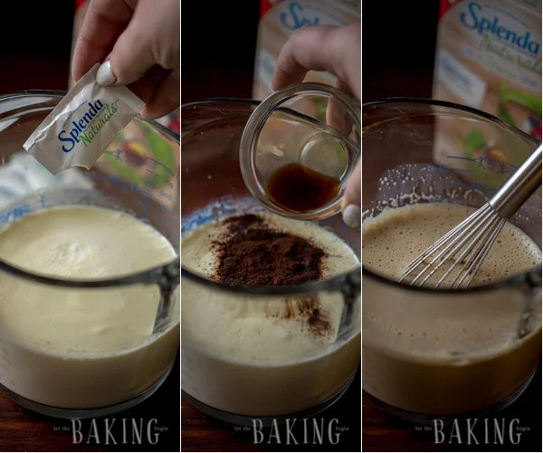 making a pot de creme dessert with espresso powder, chocolate, and splenda