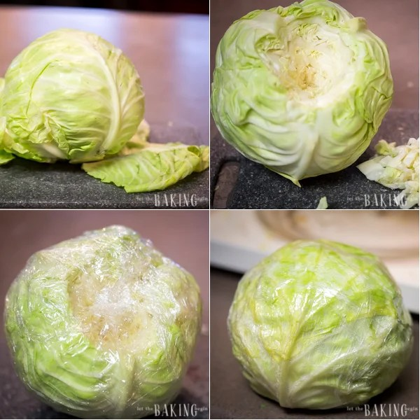 Preparing the cabbage rolls is easy! Just wrap the cabbage in plastic and microwave.