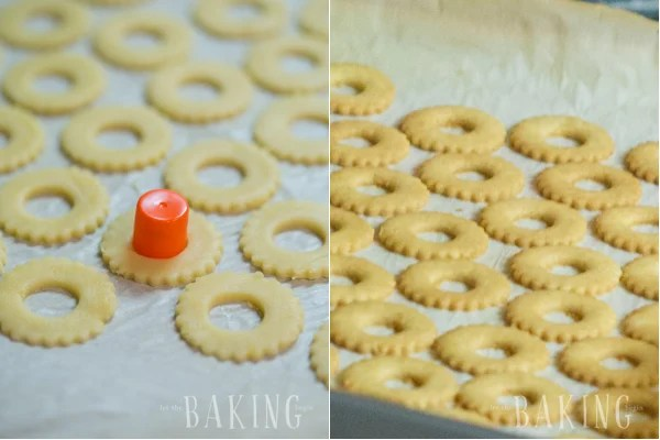 How cut out holes in the top cookies using a smaller round object and bake until golden.