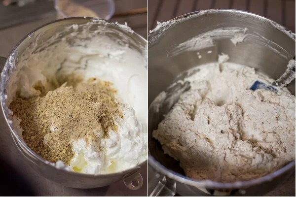 Adding in the hazelnut flour into the cake mixture.