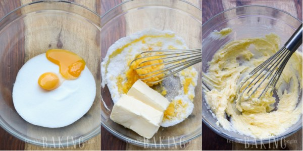 How to whisk together egg yolks, sugar, and sticks of butter in a bowl.
