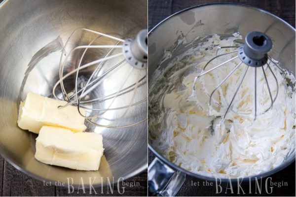 Creaming butter in a kitchen aid with the whisk.