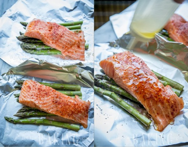 Preparing the salmon and asparagus for this salmon foil packet recipe.