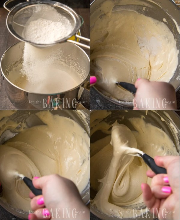 How to sift in the flour for the sponge cake batter.