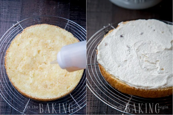 How to take the other half of the sponge cake and soak the cut side with remainder of the soaking mixture and spread the remainder of the buttercream on the cake.