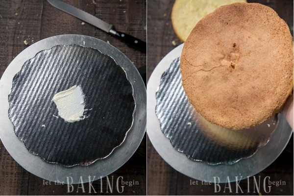 How to assemble the cake by splitting the cake into two even layers and then layering with prepared cream.