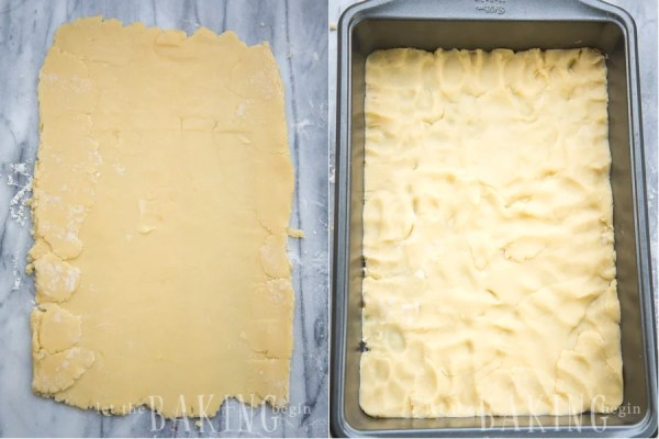 How to line basic pirog dough in a baking pan.