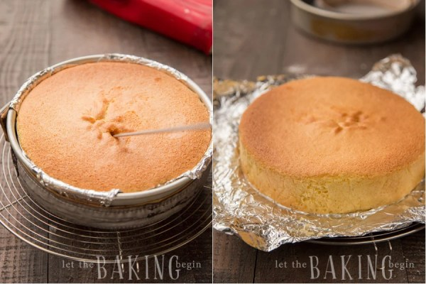 How to check the baked yellow sponge cake for readiness with a toothpick.