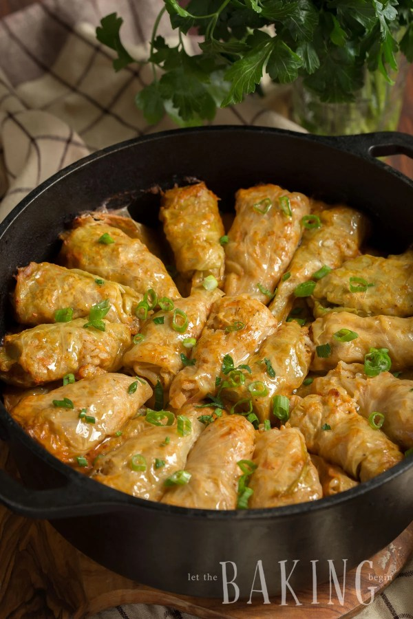 Country Style Beef Stuffed Cabbage Rolls are authentic Ukrainian comfort food filled with ground beef, rice, a medley of spices and lots of caramelized onions. This recipe is great lunch or dinner.