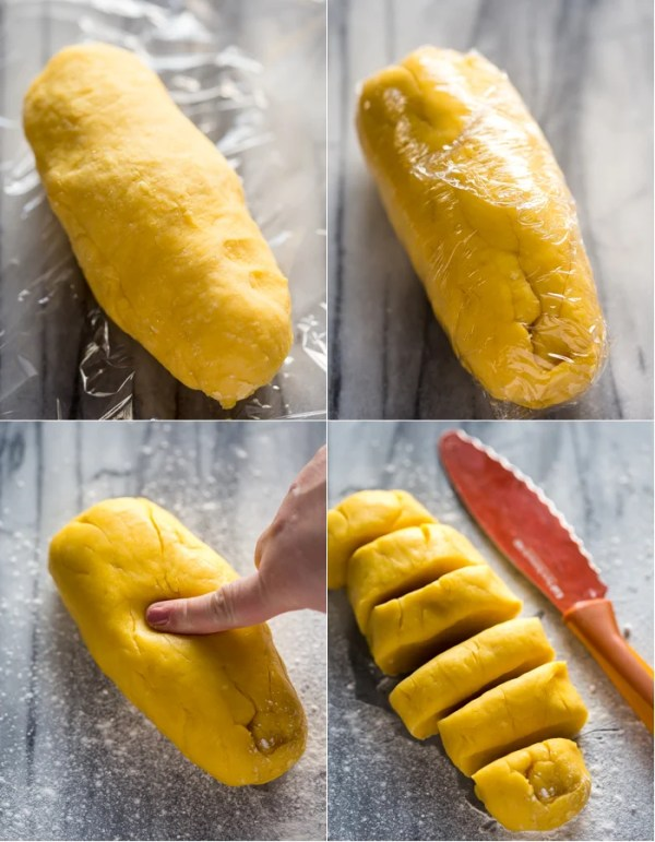 How to wrap pasta dough in plastic wrap and cut dough into pieces.