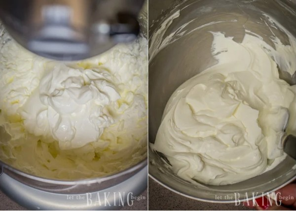 Adding sour cream to the frosting mixture and folding in with a spatula.
