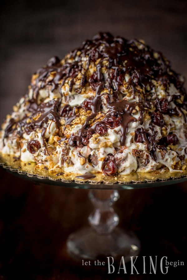 "Marble Volcano Cake (Торт ""Пинчер"") - is made by dipping squares of marbled cake first in spiked cherry juice, then sour cream frosting, and finally stacking it with some cherries and roasted walnut into a stunning mountain of cake. A showstopper, right here, for sure!"