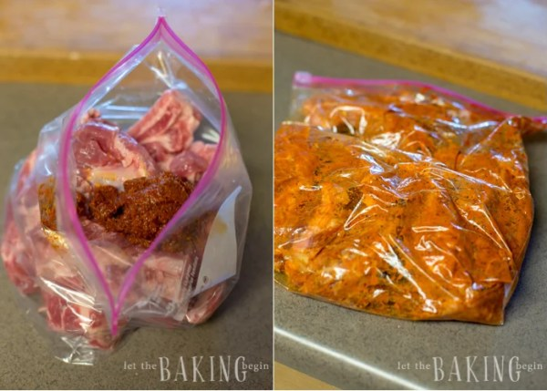 Ziplock bag filled with Instant Pot ribs and rub ingredients.