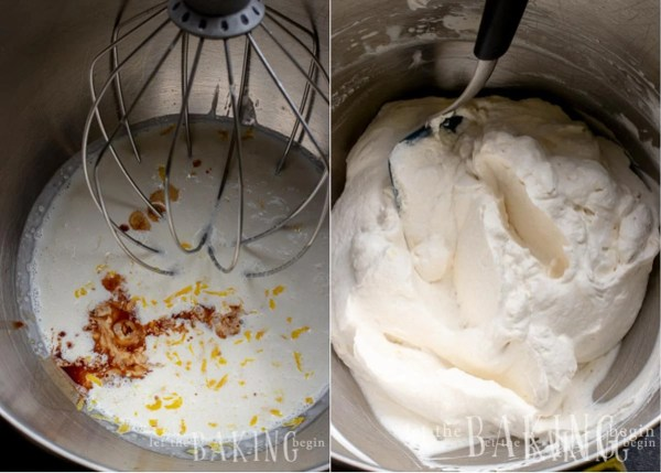 Heavy cream, vanilla and lemon zest being whipped into a fresh cream topping for the pavlova recipe