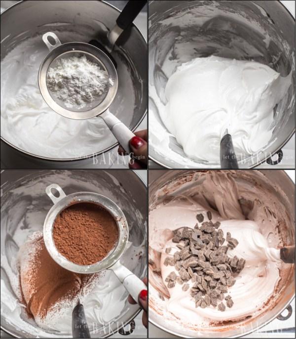 Chocolate Cherry Pavlova - preparation of Meringue, folding in the dry ingredients.