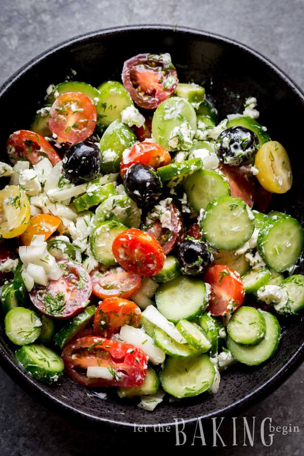 Cucumber Tomato Goat Cheese Salad is a refreshing spin on your Classic Cucumber Tomato Salad. The addition of creamy goat cheese and black olives adds an unexpected creaminess and tang to this delicious summer staple.