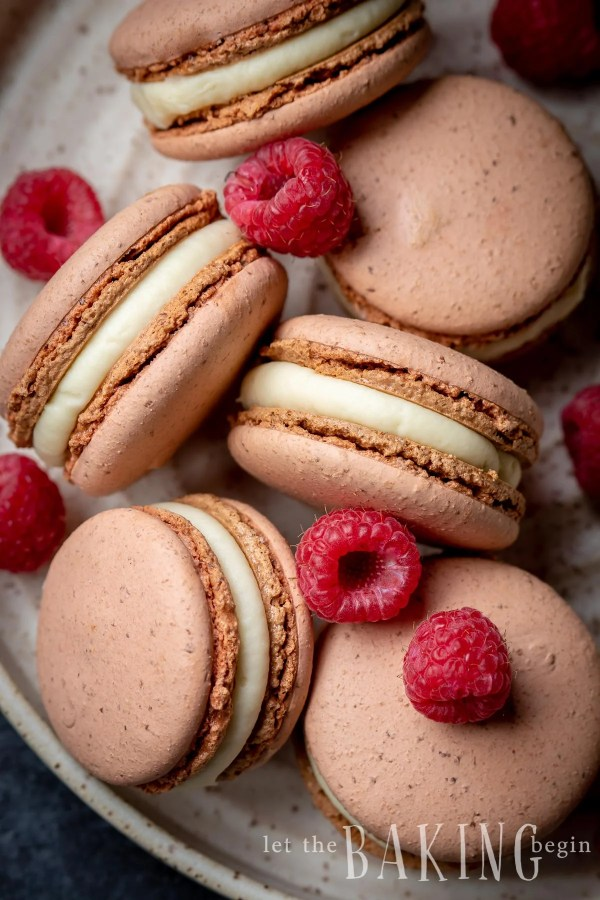 White Chocolate Raspberry Macarons are made with Italian Meringue Macaron shells, White Chocolate Ganache and a fresh raspberry. The flavor of these meringue cookies can be customized by changing the raspberry to any other berry or fruit.