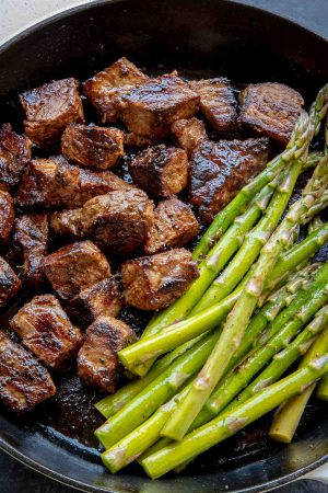 Steak Bites - Juicy beef, seared over high heat in a cast iron skillet is the best way to cook steak quickly.
