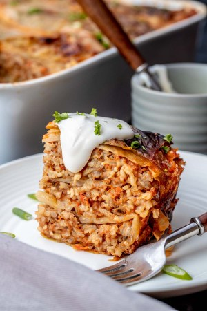 Unstuffed Cabbage Rolls Casserole is just like the typical cabbage rolls, minus all the rolling. You'll love the melt in your mouth tender beef rice and buttery cabbage .
