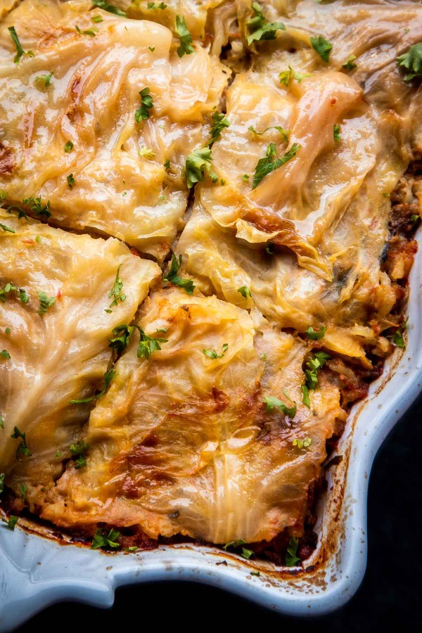Unstuffed Cabbage Rolls - the cabbage leaves are so tender that the spoon glides through them like through butter. Baked low and slow these unstuffed cabbage rolls make the best make ahead dinner.