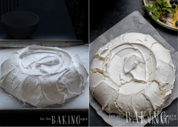 Meringue layer before and after being baked for a pavlova recipe.